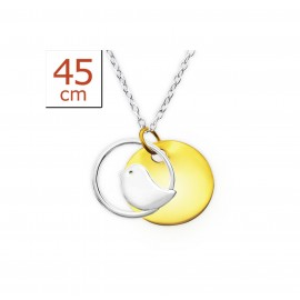 Necklace small bird two colors - Silver 925