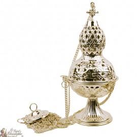 Carved golden incense burner with cross - hops