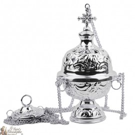Carved silver incense burner with cross