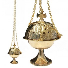 Copper censer with cross - feathers