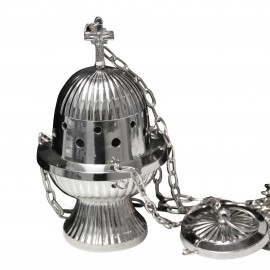 Silver colored metal censer - lines