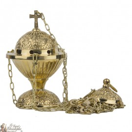 Carved copper censer with chains - floral frieze