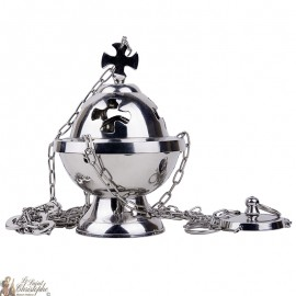 Cross incense burner to suspend silver plated metal - cross