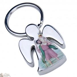 Porte-clés Ange avec Saint patron - personnalisable