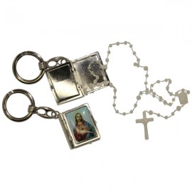 Key ring plastic rosary box Sacred heart of Jesus