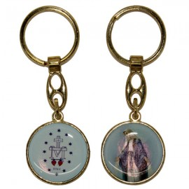 Double-sided Miraculous Virgin key ring - gold