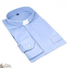 Chemise pour prêtre bleu ciel manches longues