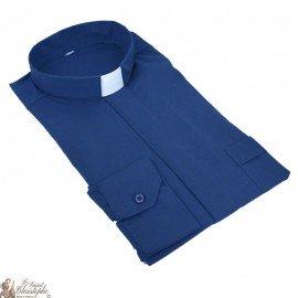 Chemise pour prêtre bleu marine manches longues