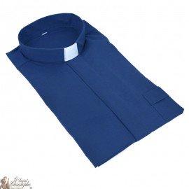 Chemise pour prêtre bleu marine manches courtes