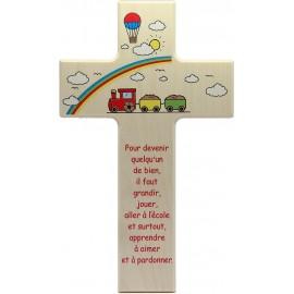 Croix en bois avec ange terre cuite chambre d'enfant