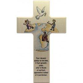 Croix en bois chambre d'enfant