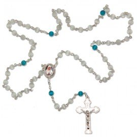 Banneux religious rosary stone cat's eye white and blue