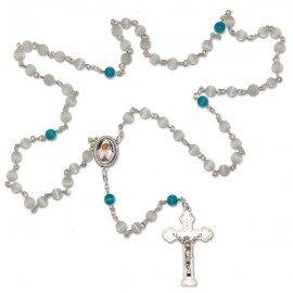 Chapelet religieux de Banneux pierre œil de chat blanc et bleue