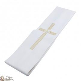 Étole prêtre brodée croix dorée nid d'abeille