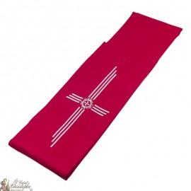 Étole prêtre brodée croix argentée
