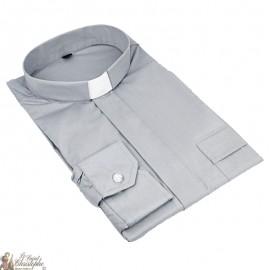 Chemise pour prêtre gris manches longues