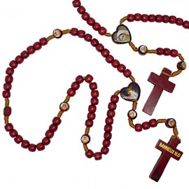 Wooden rosary with photos of the Virgin of Banneux N.D and Merciful Christ