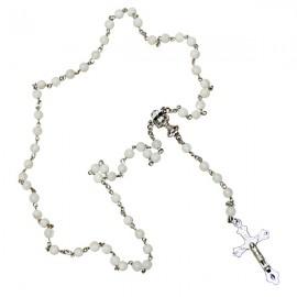 Chapelet blanc en véritable perles en nacre coeur forme calice