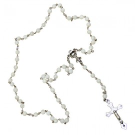 White rosary in real mother-of-pearl - chalice