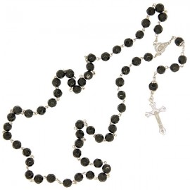 Chapelet Noir perles à facettes
