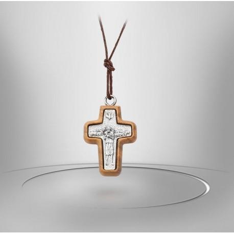 Collier avec Croix Papale métal et bois d'olivier