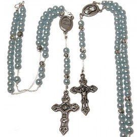 Blue rosary pearl beads necklace