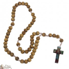 Chapelet Saint Joseph en bois d'olivier naturel