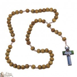 Rosary of Banneux in natural olive wood