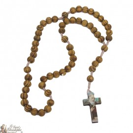 Rosary of Saint Benedict in natural olive wood