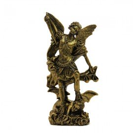 Statue Saint Michel poudre de Marbre couleur Bronze