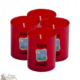 Bougies Veilleuses rouges personnalisables - 4 pièces