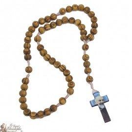 Chapelet Padre Pio en bois d'olivier naturel
