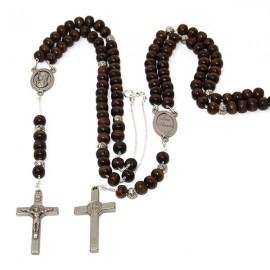 Chapelet brun perles en bois collier
