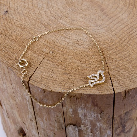 Bracelet colombe plaqué or
