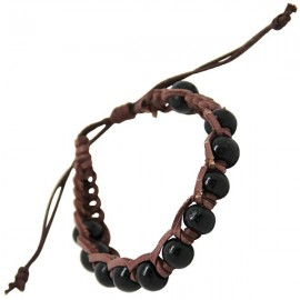 Brown leather bracelet mounted with black wooden beads