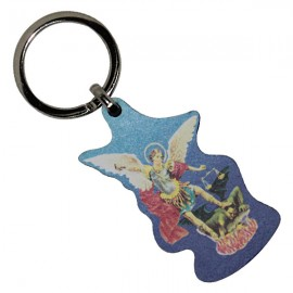 Wooden Saint Michael key ring