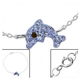 Strass dolphin bracelet - silver 925