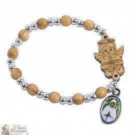 Bracelet en bois dizaine Ange - personnalisable