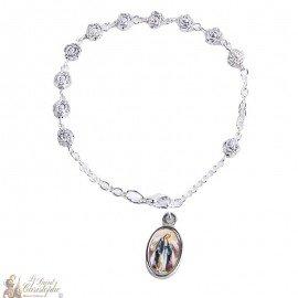 Bracelet dizaine perles en forme de roses - personnalisable
