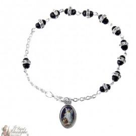 Bracelet dizaine perles noires strass - personnalisable