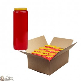 Bougies de neuvaine rouge - carton 20 pièces
