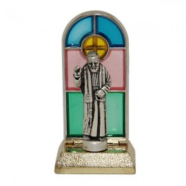 Pater Pio glas-in-lood standbeeld