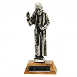 Padre Pio statue on wooden base - 7 cm