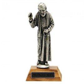 Padre Pio statue sur socle bois