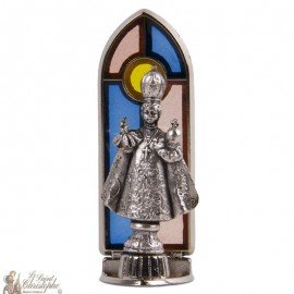 Jesus of Prague statue stained glass window