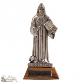 Statue Saint Benoit socle bois